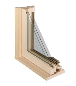 Fenêtres battant bois naturel coupe