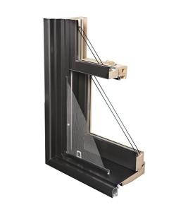 Fenêtres Guillotine recouvrement aluminium coupe